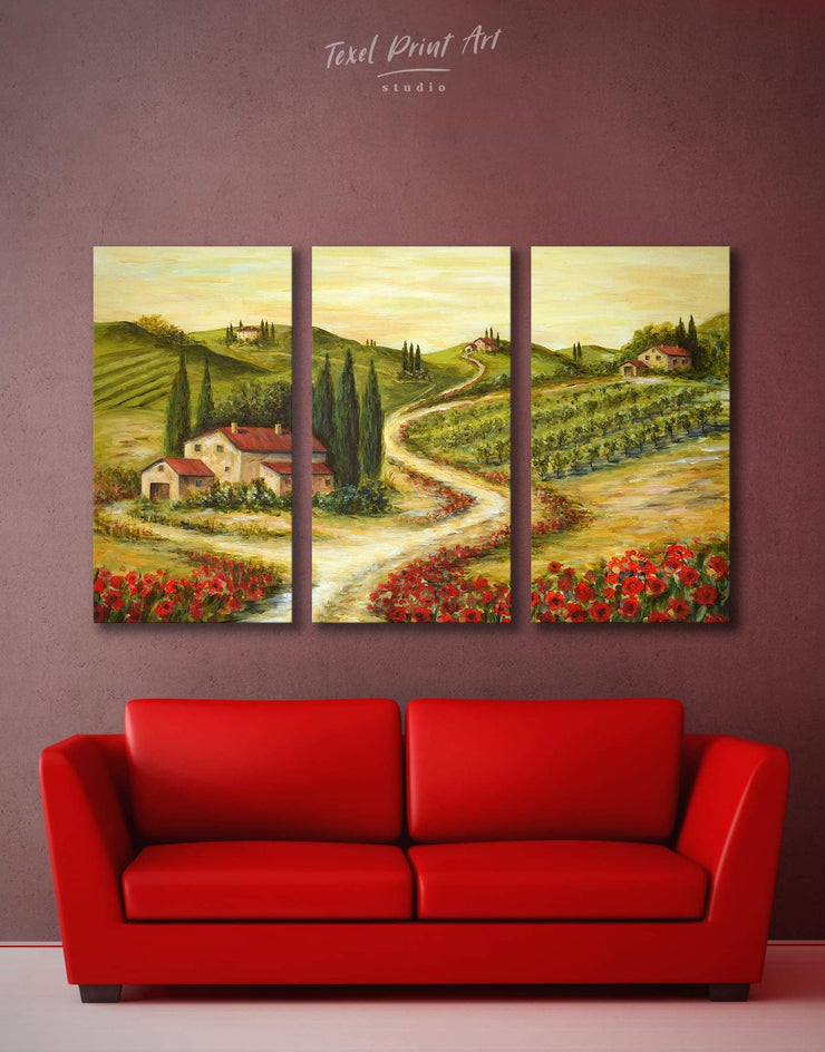 3 Pieces Tuscan Landscape Wall Art Canvas Print - 3 Panels bedroom Dining room Hallway Italy wall art