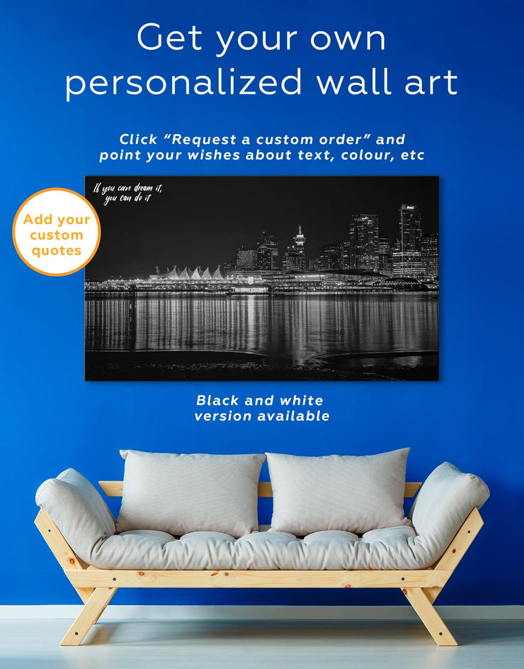 3 Pieces Vancouver Skyline Canvas Wall Art - Canvas Wall Art 3 Panels bedroom City Skyline Wall Art Cityscape Dining room