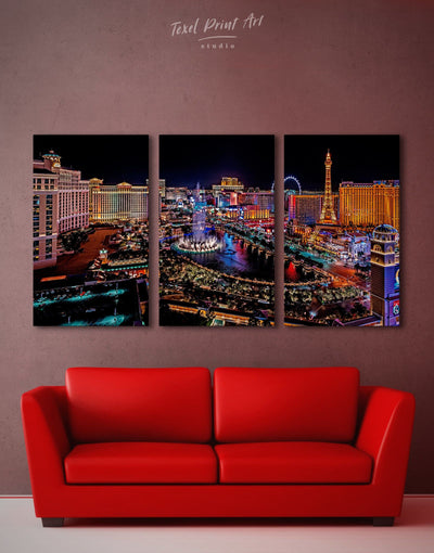 3 Pieces Vegas Skyline Canvas Wall Art - Canvas Wall Art 3 Panels bedroom City Skyline Wall Art Cityscape Dining room
