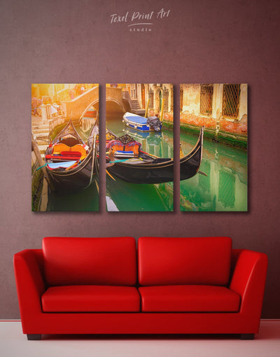 3 Pieces Venice Gondola Wall Art Canvas Print - 3 Panels bedroom Dining room dining room wall art Italy wall art