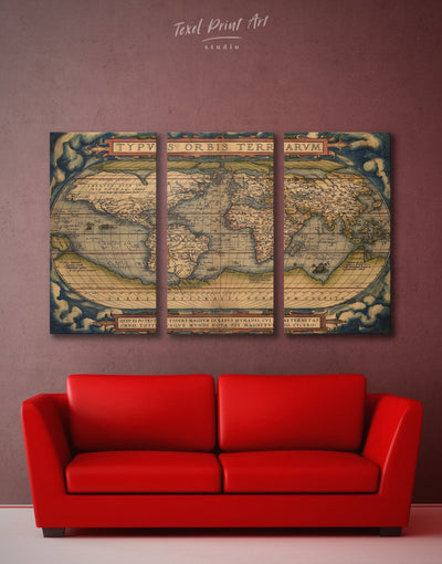 3 Pieces Vintage Map Wall Art Canvas Print - 3 Panels Antique Antique world map canvas bedroom Hallway