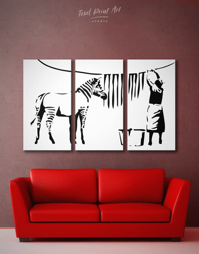 3 Pieces Washed Zebra by Banksy Wall Art Canvas Print - 3 Panels banksy Banksy wall art black black and white wall art