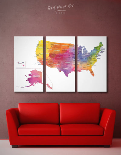 3 Pieces Watercolor US Map Wall Art Canvas Print - 3 Panels bedroom Dining room Hallway Living Room