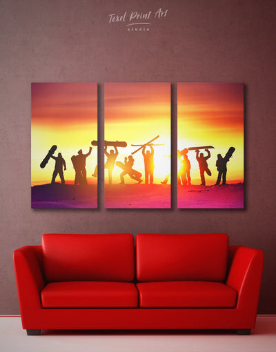 3 Pieces Winter Sports Wall Art Canvas Print - 3 Panels Brown inspirational wall art Motivational Orange