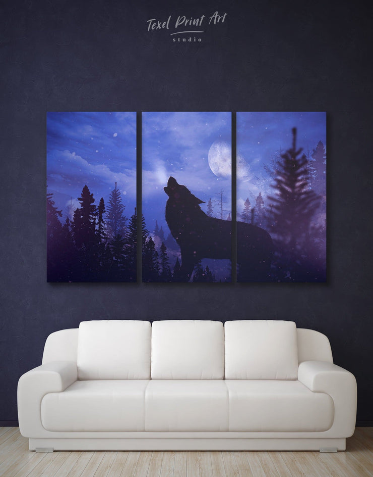 3 Pieces Wolf Wall Art Canvas Print - 3 Panels Animal bedroom Living Room Nature