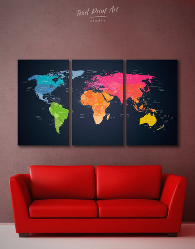 3 Pieces World Map on Black Wall Art Canvas Print - 3 Panels Black contemporary wall art map of the world labeled Pink