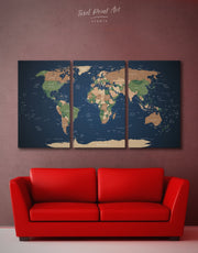 3 Pieces World Map Wall Art Canvas Print
