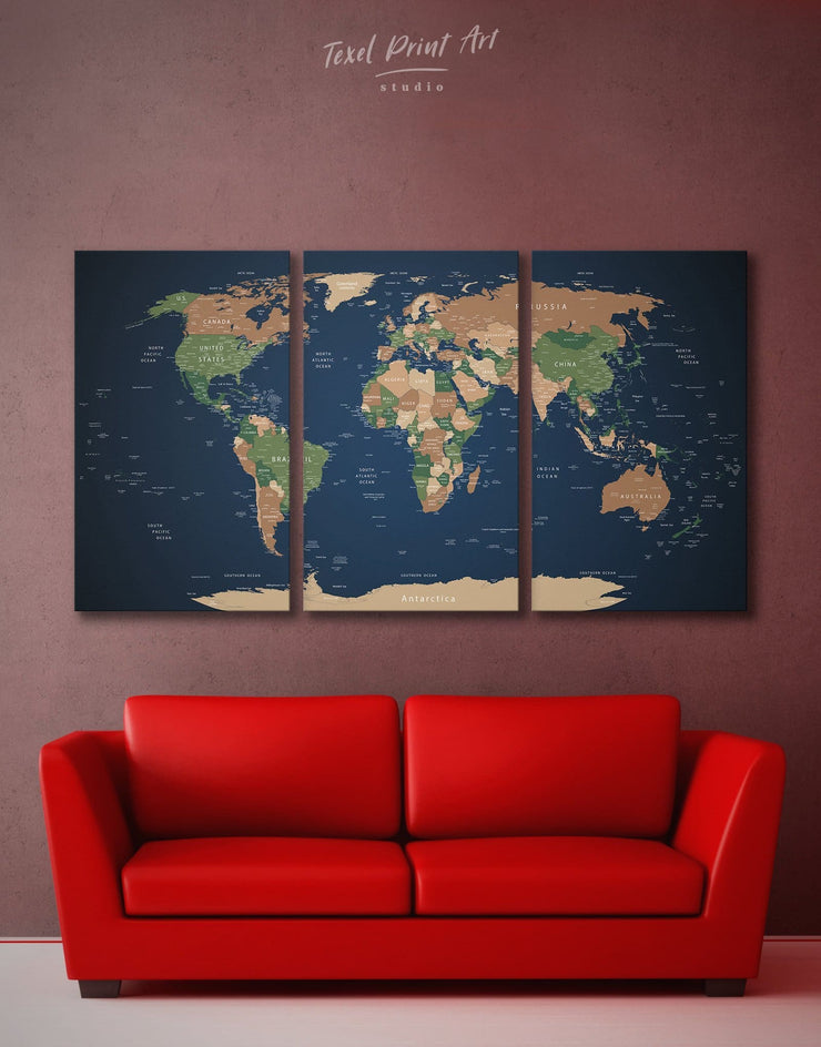 3 Pieces World Map Wall Art Canvas Print - 3 Panels bedroom blue and green wall art Living Room living room wall art