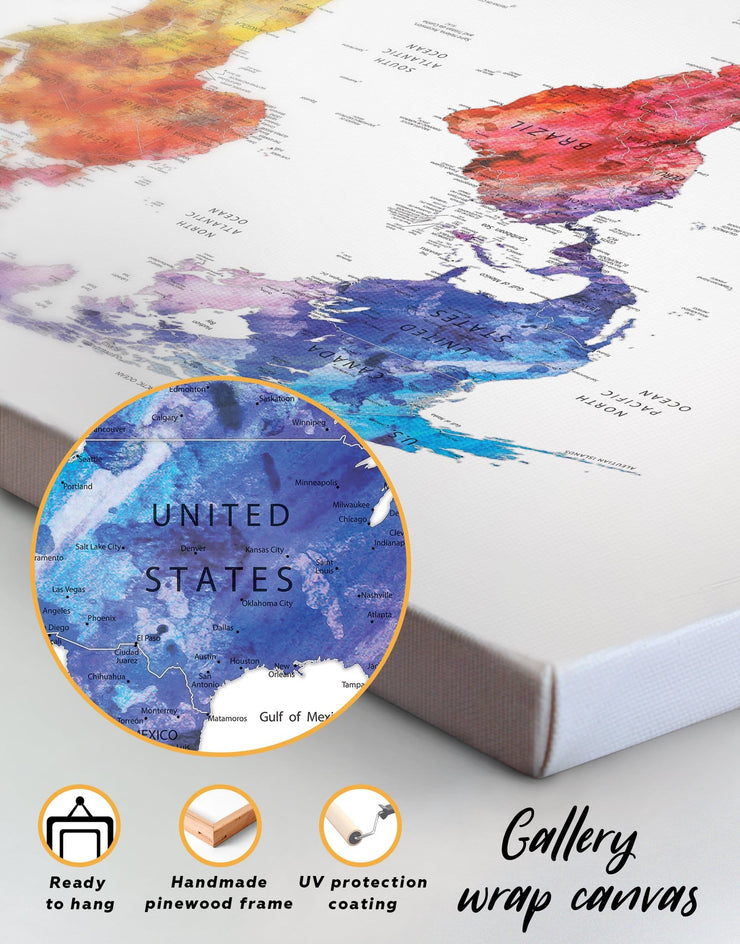 3 Pieces World Map Watercolor Wall Art Canvas Print - 3 Panels bedroom contemporary wall art map of the world labeled modern wall art
