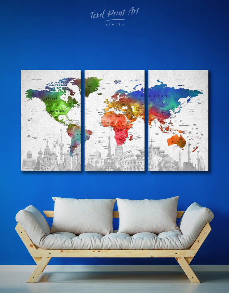 3 Pieces World Map with Landmarks Wall Art Canvas Print - 3 Panels Living Room map of the world labeled modern wall art Office Wall Art