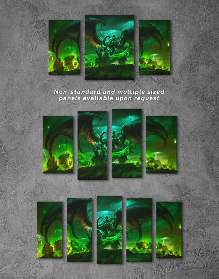 3 Pieces World of Warcraft Wall Art Canvas Print - 3 Panels bachelor pad bedroom game room game room wall art