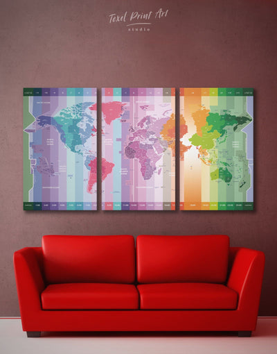 3 Pieces World Time Zone Map Wall Art Canvas Print - 3 Panels Abstract Abstract map Contemporary Green