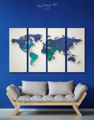 4 Panel Abstract Wall Art Canvas Print - 4 Panels Abstract abstract world map wall art bedroom Blue Abstract Wall art