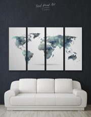 4 Panel Abstract World Map Wall Art Canvas Print