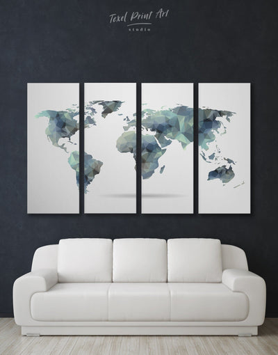 4 Panel Abstract World Map Wall Art Canvas Print - 4 Panels Abstract Abstract map abstract world map wall art Geometric