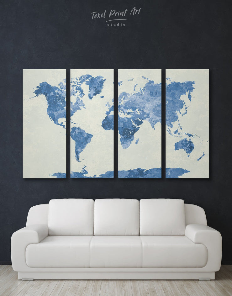 4 Panel Blue World Map Wall Art Canvas Print - 4 Panels Abstract map aqua blue Blue Blue Abstract Wall art