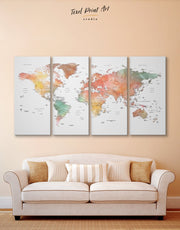 4 Panel Brown World Map Wall Art Canvas Print