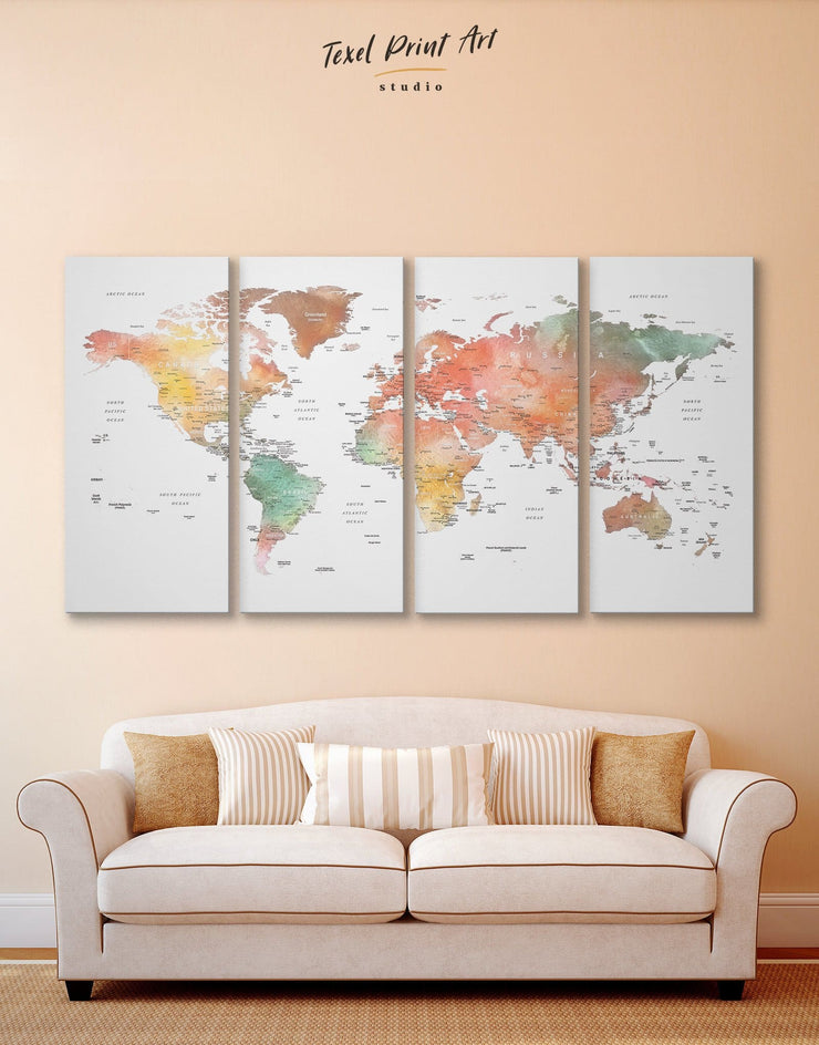 4 Panel Brown World Map Wall Art Canvas Print - 4 Panels Brown Labeled world map Living Room Office Wall Art
