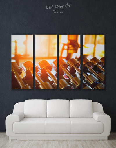 4 Panel Fitness Wall Art Canvas Print - 4 Panels Home Gym inspirational wall art Living Room manly wall art