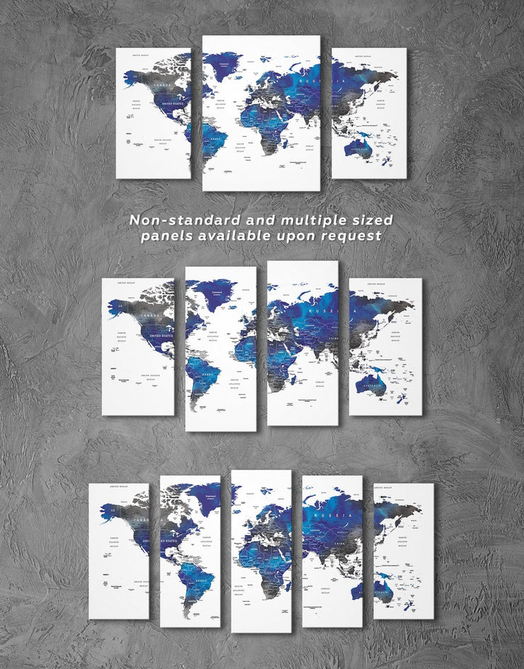 4 Panel Grey and Blue World Map Wall Art Canvas Print - 4 Panels bedroom blue and gray wall art Blue wall art for living room Office Wall