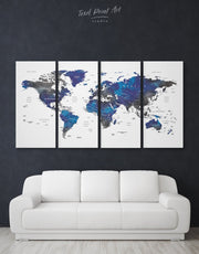4 Panel Grey and Blue World Map Wall Art Canvas Print