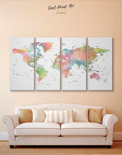 4 Panel Multicolor Watercolor Map Wall Art Canvas Print - 4 Panels Labeled world map Living Room Office Wall Art Push pin travel map