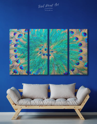 4 Panel Peacock Mandala Wall Art Canvas Print - 4 Panels Abstract Blue Abstract Wall art Blue wall art for living room Feather Wall Art