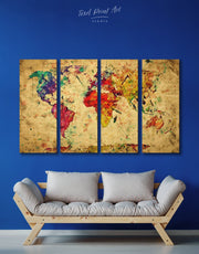 4 Panel Rustic World Map Abstract Wall Art Canvas