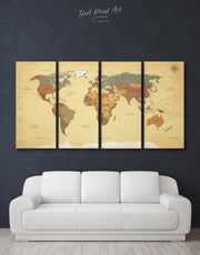 4 Panel Travel Map Wall Art Canvas Print