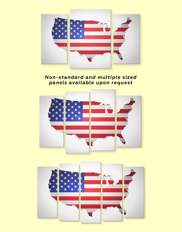 4 Panel US Flag Wall Art Canvas Print - 4 Panels bedroom Country Map Country Wall Art for Living Room Flag Wall Art