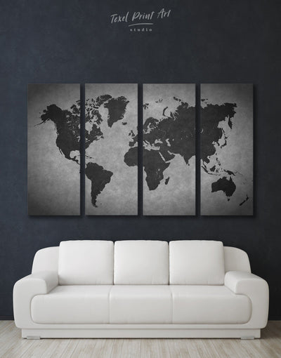 4 Panel World Map Abstract Wall Art Canvas Print - 4 Panels Abstract Abstract map abstract world map wall art black and grey wall art