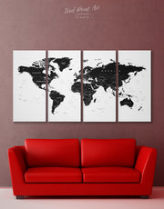 4 Panel World Map Wall Art Canvas Print