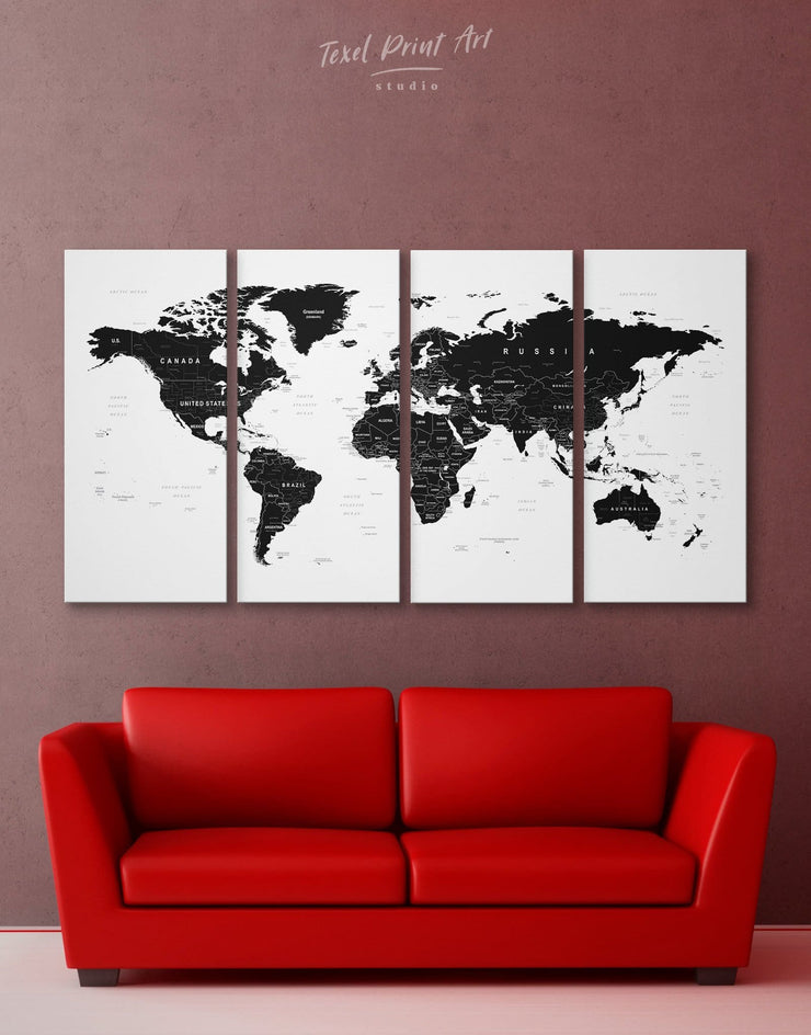 4 Panel World Map Wall Art Canvas Print - 4 Panels Black black and white wall art Black and white world map map of the world labeled