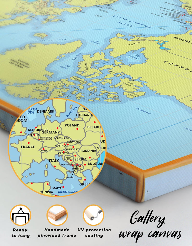4 Panel World Map with Countries Wall Art Canvas Print at