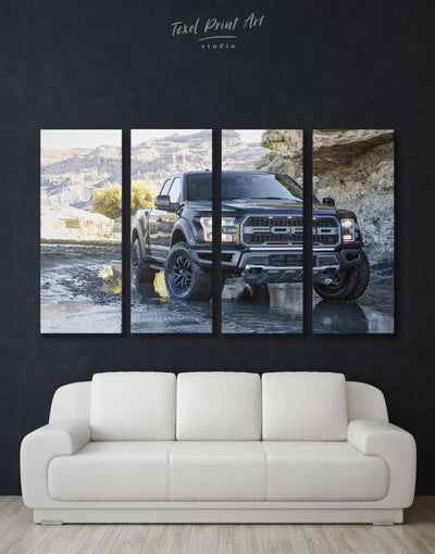 4 Panels 2017 Ford F-150 Raptor Wall Art Canvas Print - 4 Panels bachelor pad Car garage wall art manly wall art