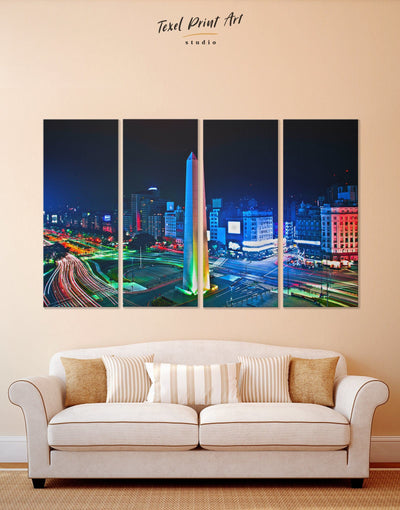 4 Panels 9 de Julio Avenue Wall Art Canvas Print - 4 Panels bedroom Blue City Skyline Wall Art Cityscape