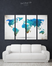4 Panels Abstract Blue Map Wall Art Canvas Print