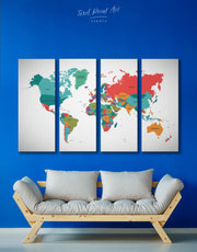 4 Panels Abstract Modern Map Wall Art Canvas Print