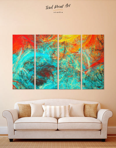 4 Panels Abstract Wall Art Canvas Print - 4 Panels Abstract Blue Abstract Wall art Bright colored Contemporary