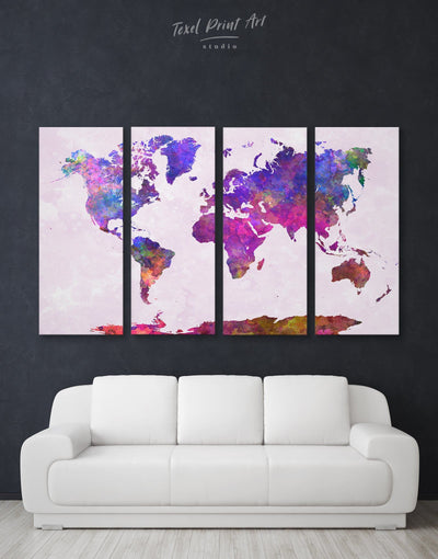 4 Panels Abstract World Map Wall Art Canvas Print - 4 Panels Abstract map corkboard Hallway Living Room