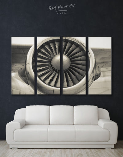 4 Panels Airplane Turbine Wall Art Canvas Print - 4 Panels Aviation bachelor pad bedroom Hallway