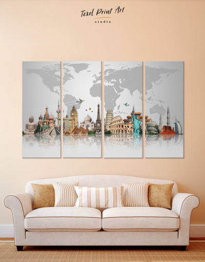 4 Panels Attractions World Map Wall Art Canvas Print - 4 Panels abstract world map wall art bedroom Contemporary contemporary wall art
