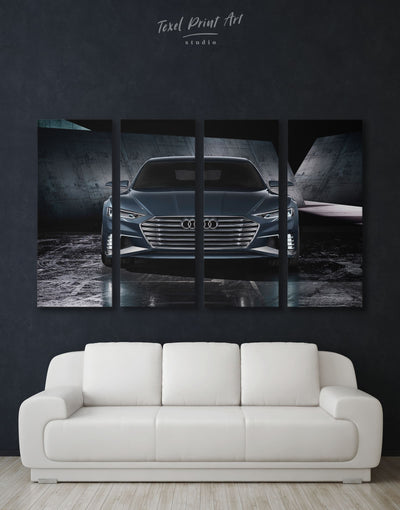 4 Panels Audi A8 Car Wall Art Canvas Print - 4 Panels bachelor pad black car garage wall art