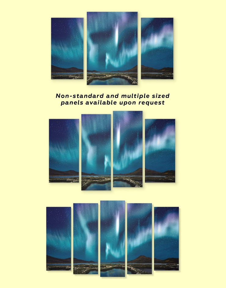 4 Panels Aurora Borealis Wall Art Canvas Print - 4 Panels aurora borealis wall art bedroom landscape wall art Living Room