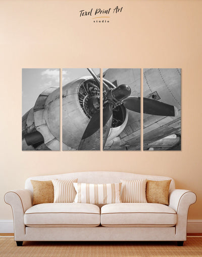 4 Panels Aviation Wall Art Canvas Print - 4 Panels airplane wall art Aviation bedroom black and white wall art