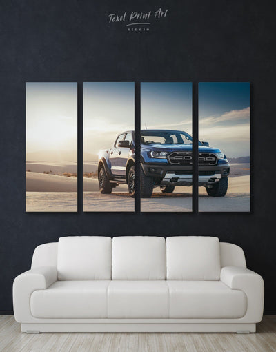 4 Panels Baby Ford Raptor in a Desert Wall Art Canvas Print - 4 Panels bachelor pad car garage wall art wall art for men