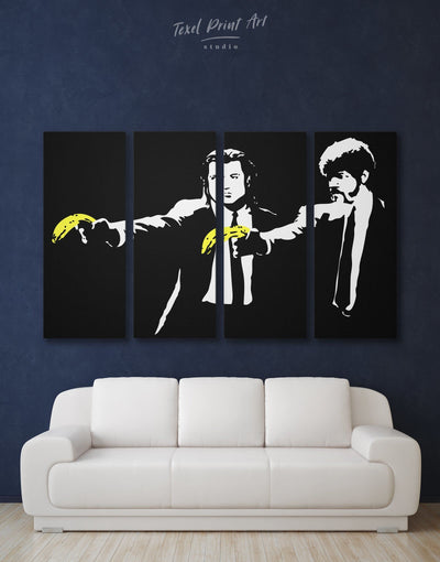 4 Panels Banksy Pulp Fiction Wall Art Canvas Print - 4 Panels banksy banksy wall art bedroom black