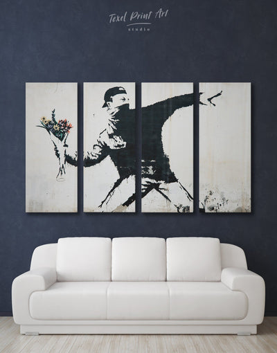 4 Panels Banksy Rage Flower Thrower Wall Art Canvas Print - 4 panels banksy wall art bedroom black and white wall art Contemporary