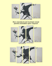 4 Panels Banksy Rage Flower Thrower Wall Art Canvas Print