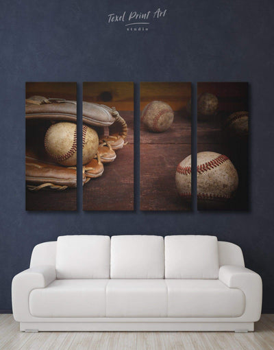 4 Panels Baseball Wall Art Canvas Print - 4 Panels bachelor pad baseball wall art Brown game room wall art